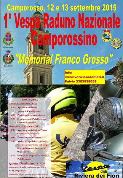 "1° Vespa Raduno Nazionale Camporossino - ""Memorial Franco Grosso"""
